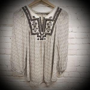 Lucky Brand Embroidered Boho Blouse Brwn